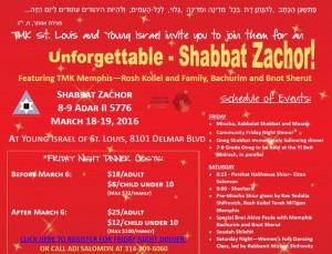 Unforgettable Shabbat Zachor Memphis+St. Louis Shabbaton